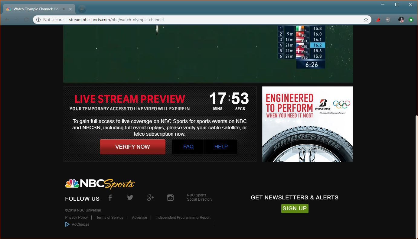 A screenshot of the limited free preview of NBC Sports.
