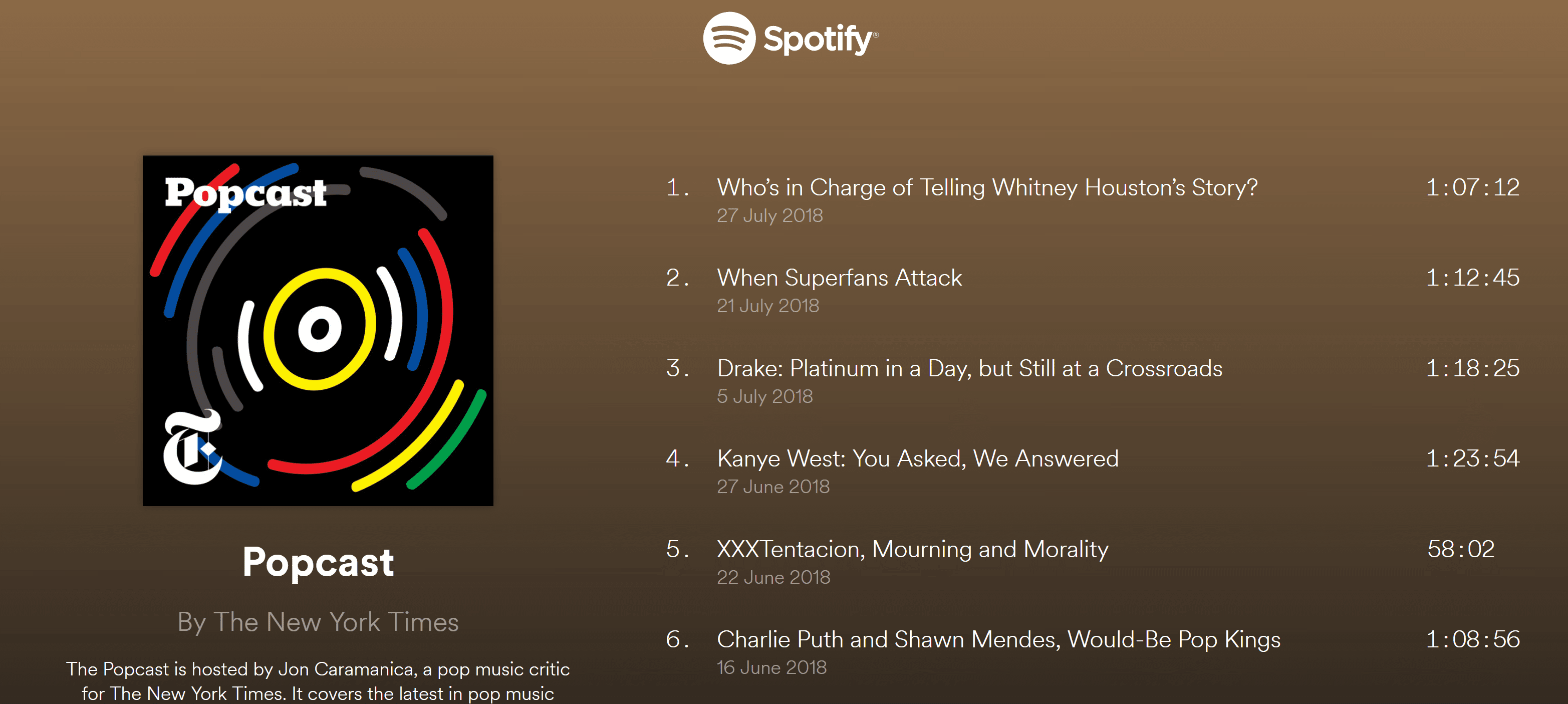 Screenshot of Spotify page for Popcast podcast