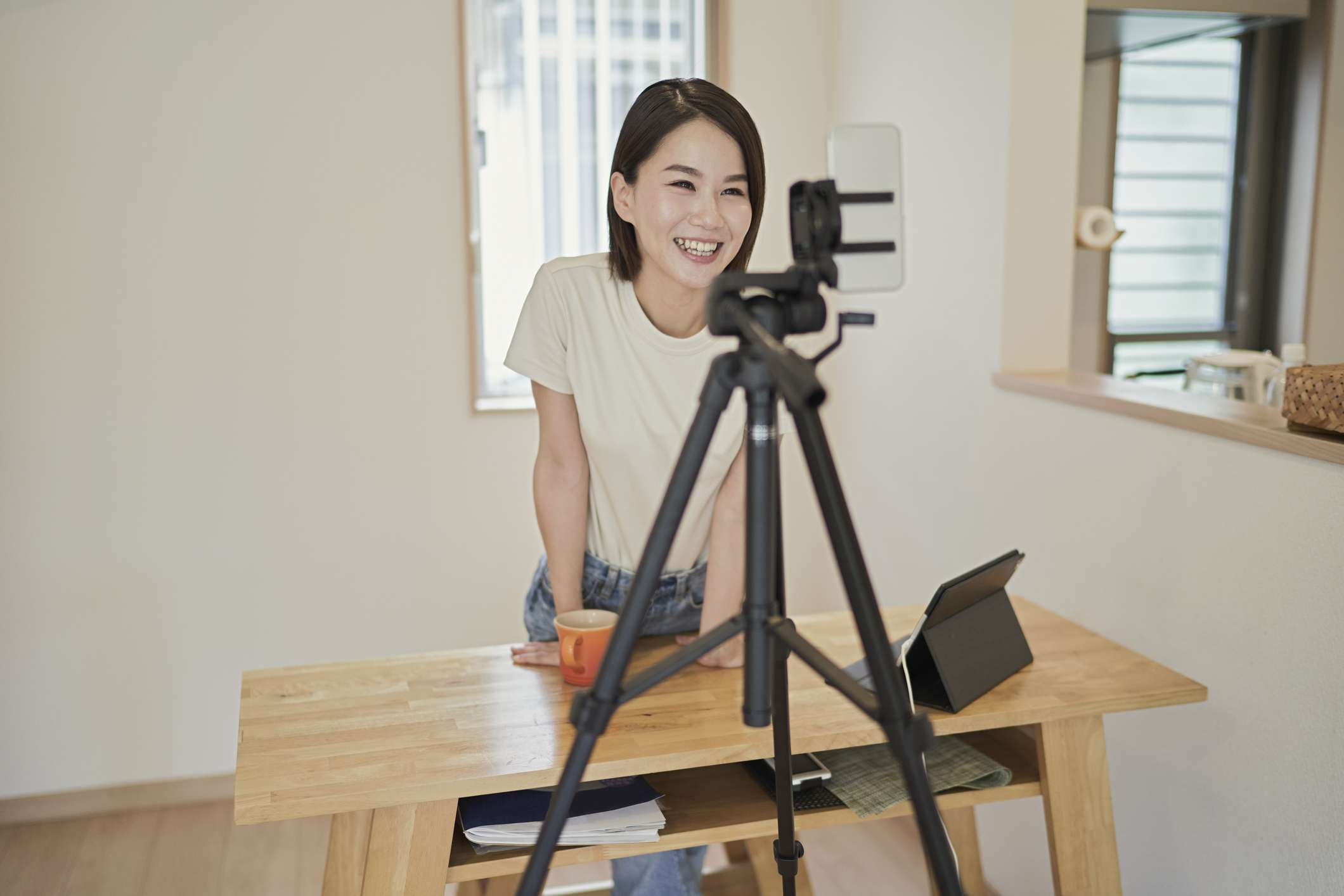 Woman livestreaming