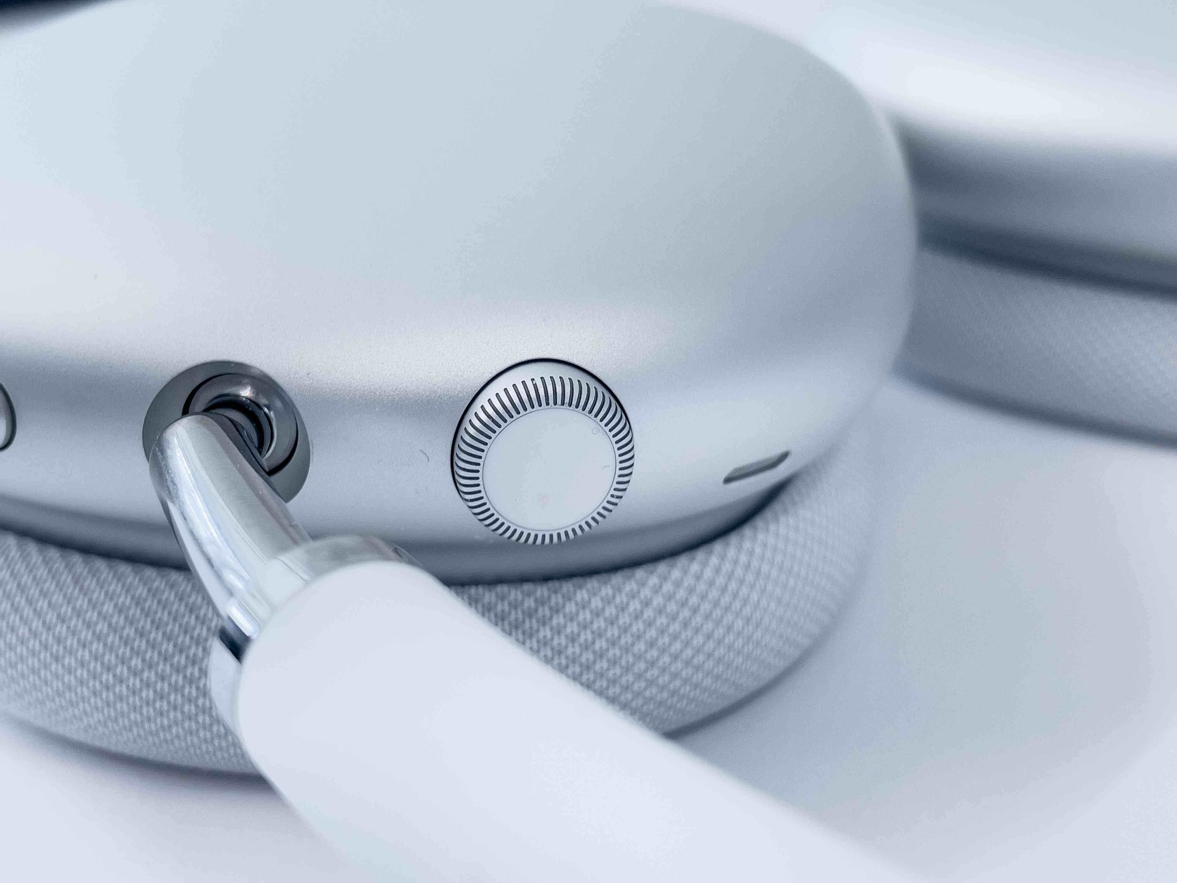 Closeup of the volume control on AirPods Max.