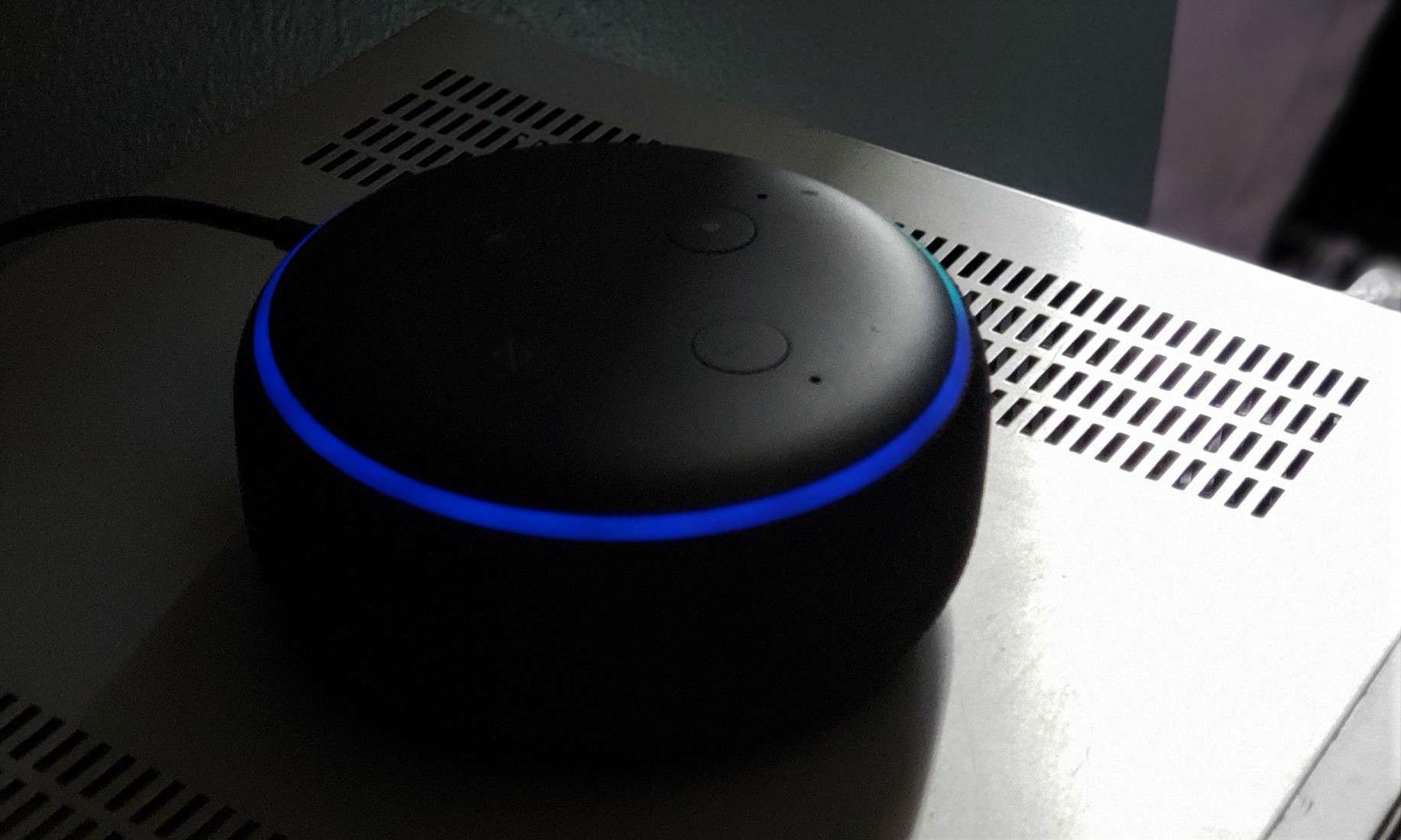 Amazon Echo Dot 2nd Gen with Alexa listening and blue ring