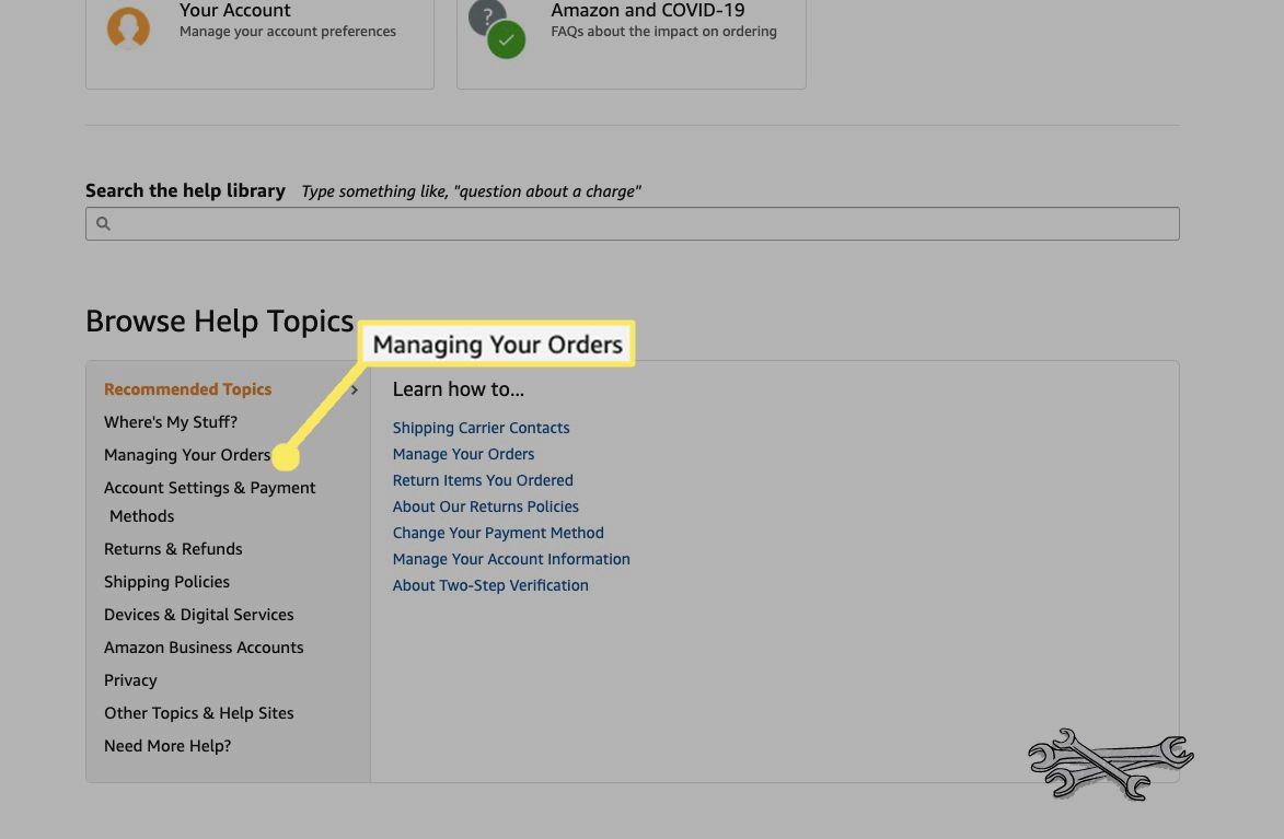 Under Browse Help Topics, select Managing Your Orders.