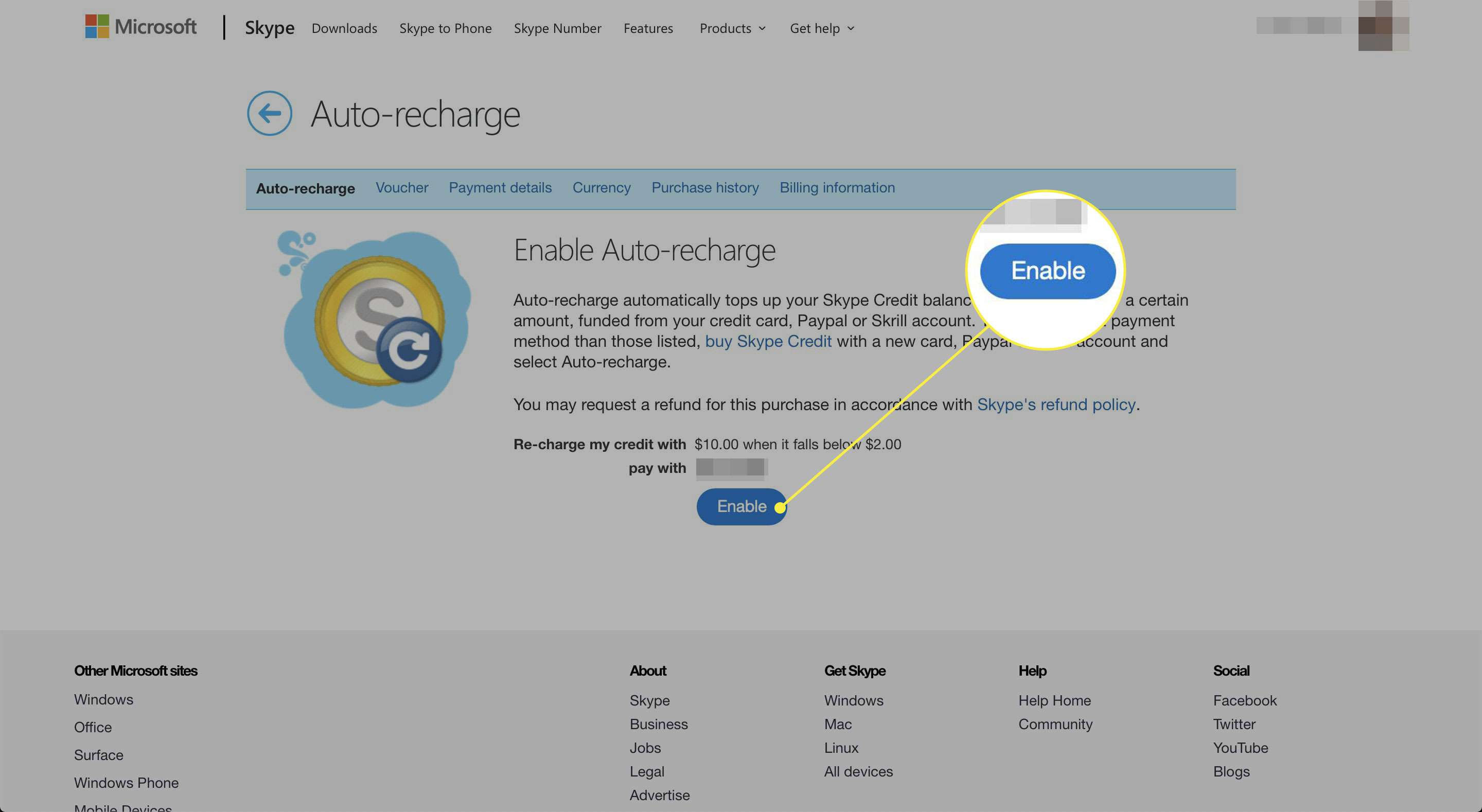A screenshot of Skype's Auto-recharge page with the Enable/Disable button highlighted