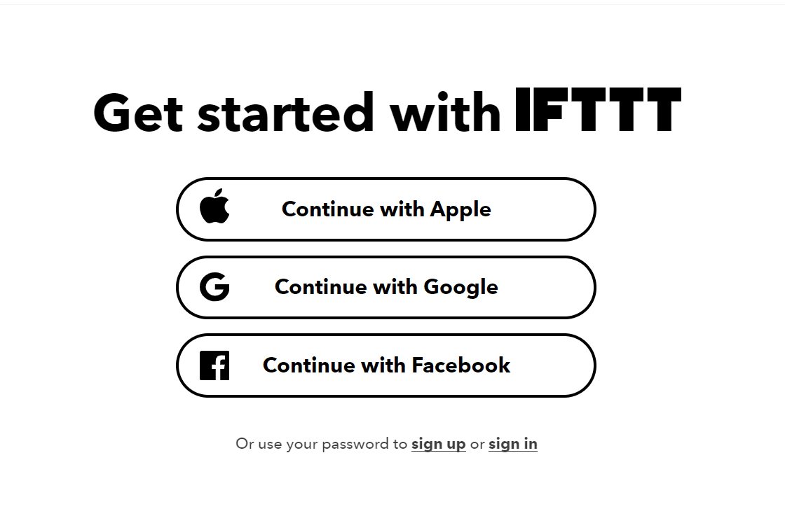 IFTTT signup page