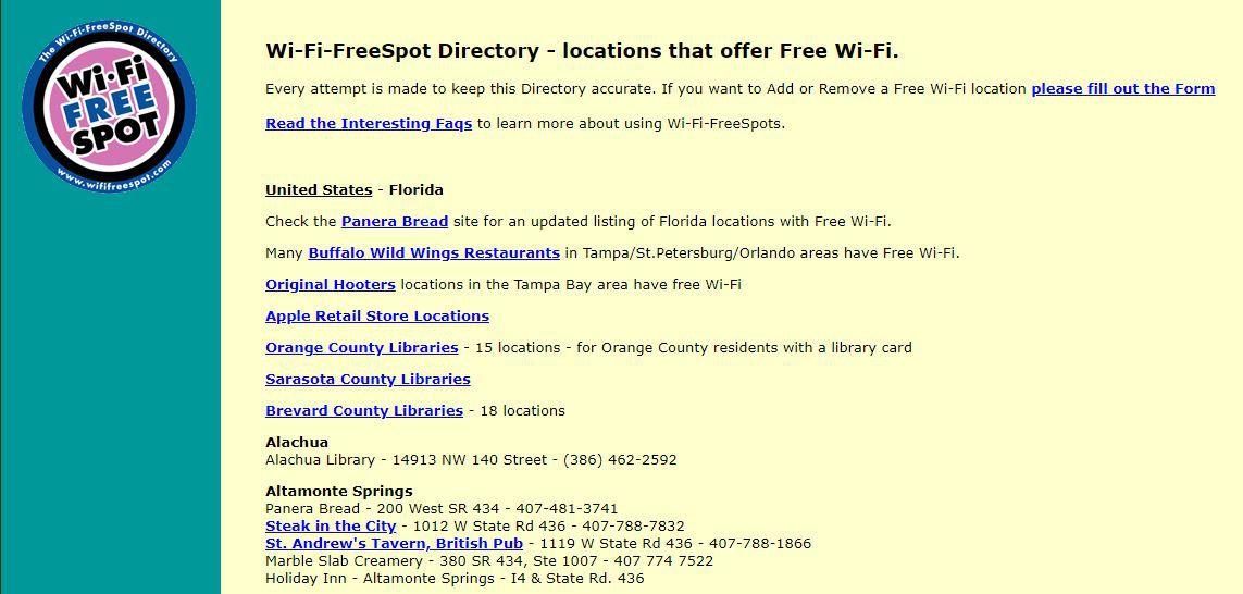 A screenshot of the Wi-Fi Free Spot directory.