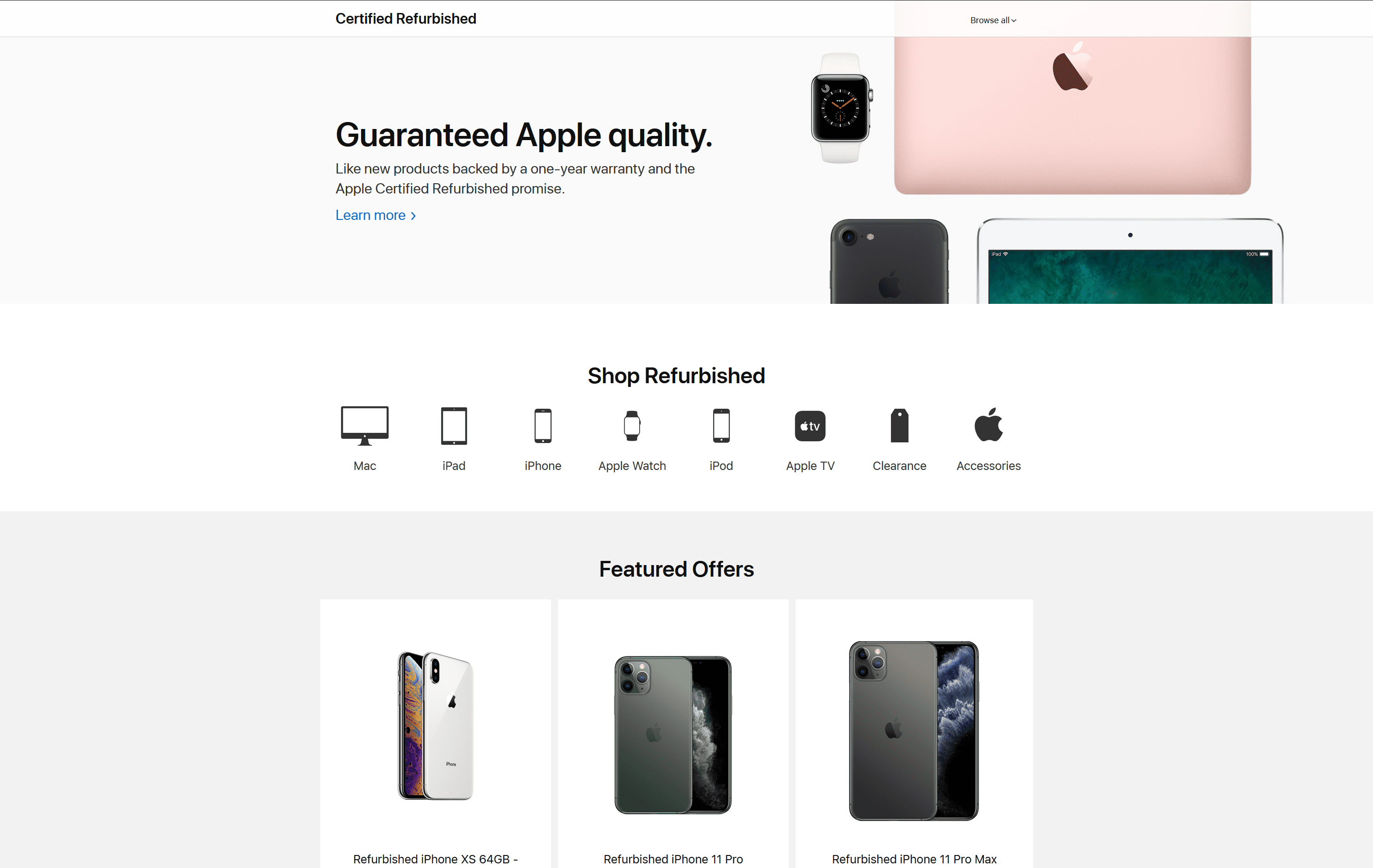 Apple's own certified refurbished page
