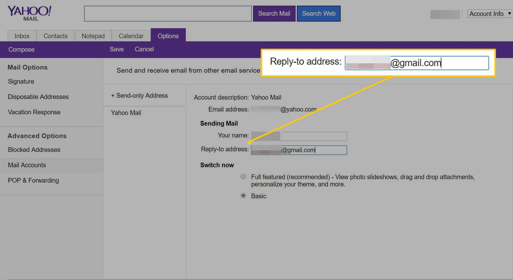 Reply-to address field in Yahoo Mail Basic