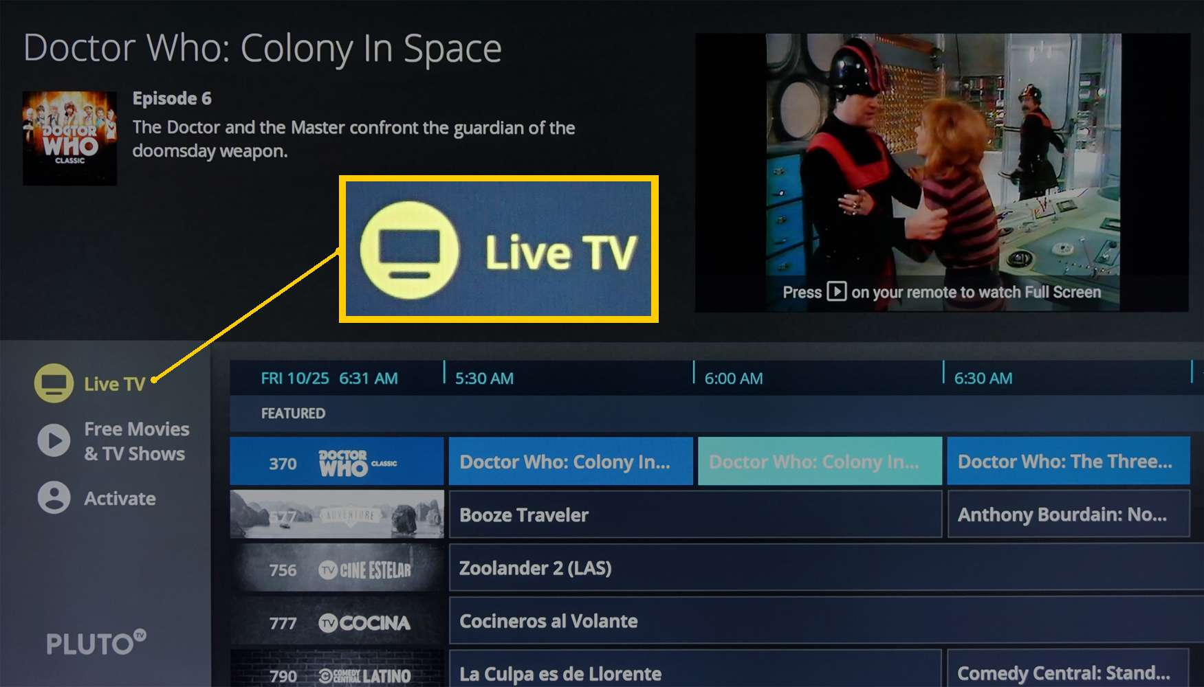 Pluto TV – Live TV Listing Page