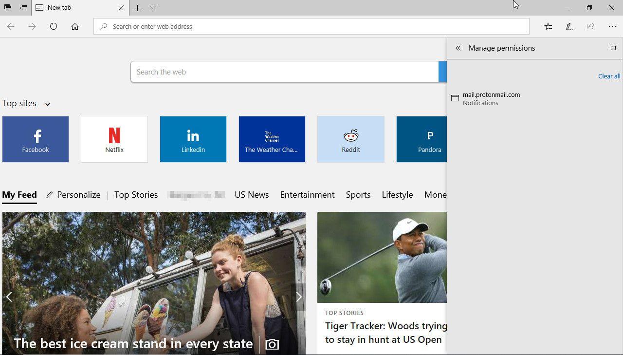 Microsoft Edge site permissions