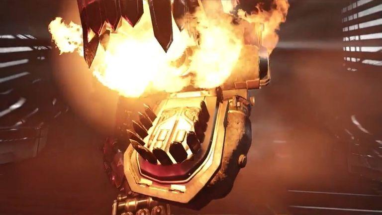 A T-Rex mech breaths fire in Wolfenstein: Cyberpilot for PlayStation VR