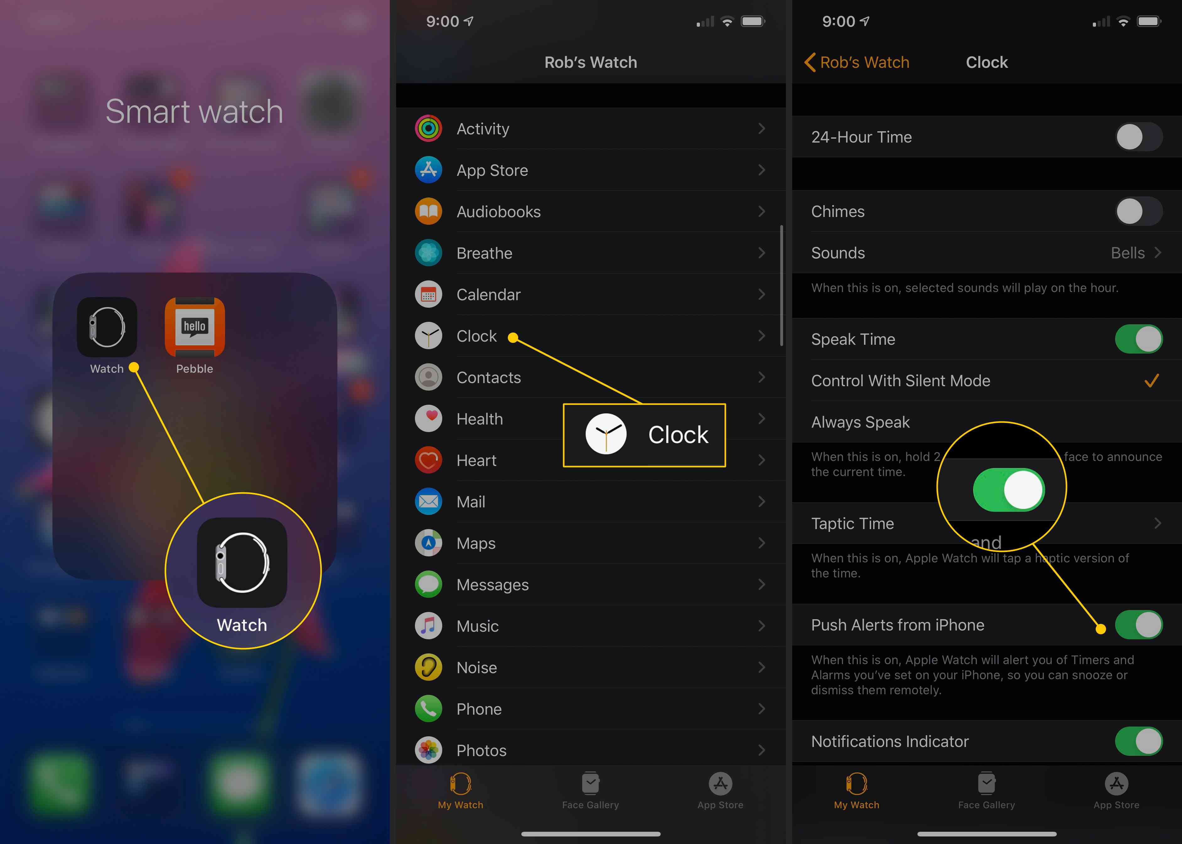 Watch icon, Clock button, Push Alerts from iPhone toggle ON on iPhone
