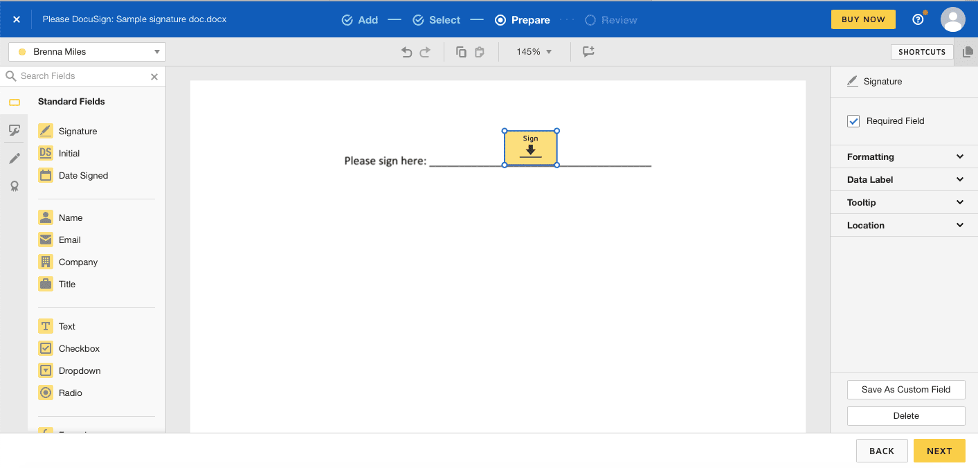Using DocuSign to create fillable PDF form to send for signature