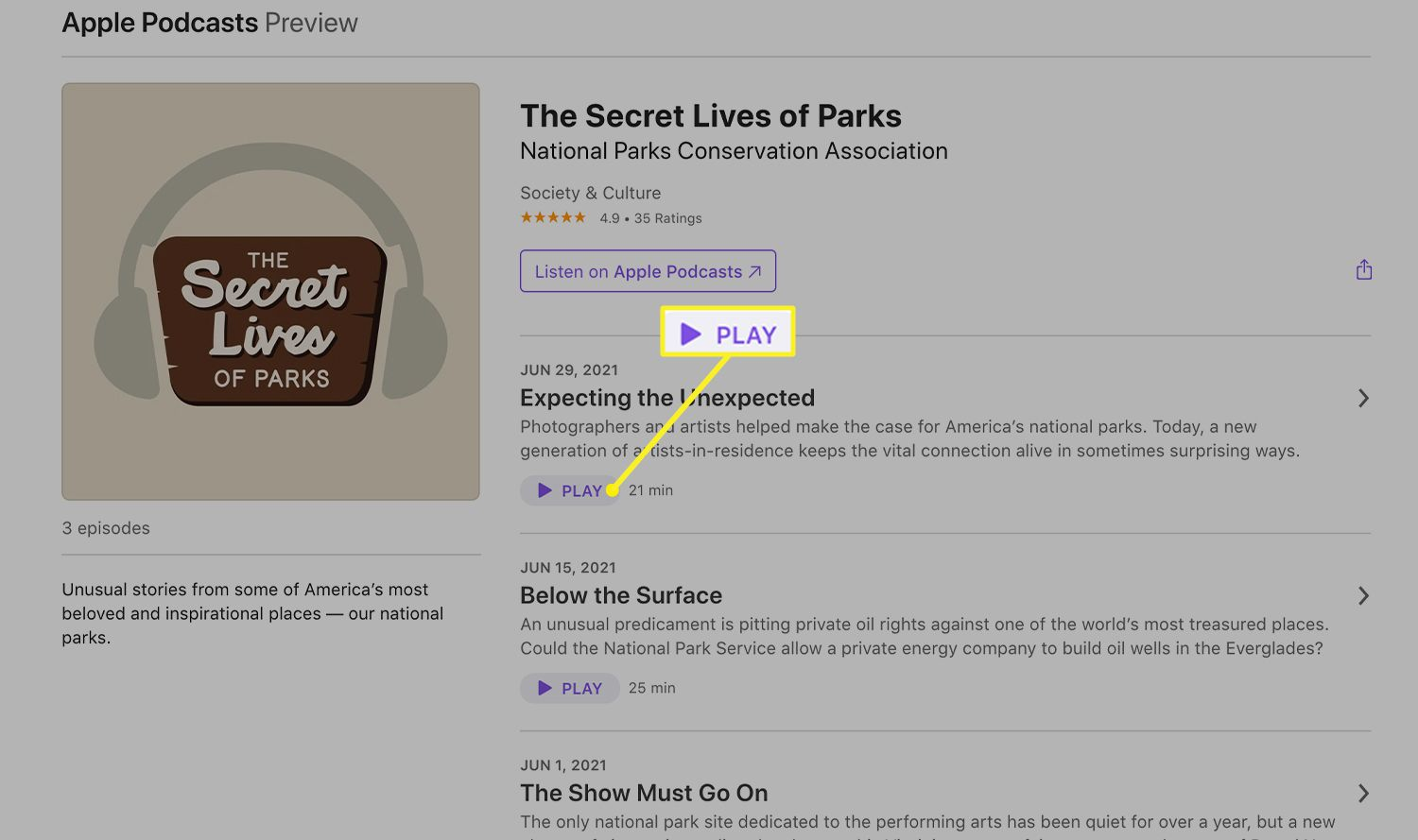 A podcast info screen with the Play button highlighted