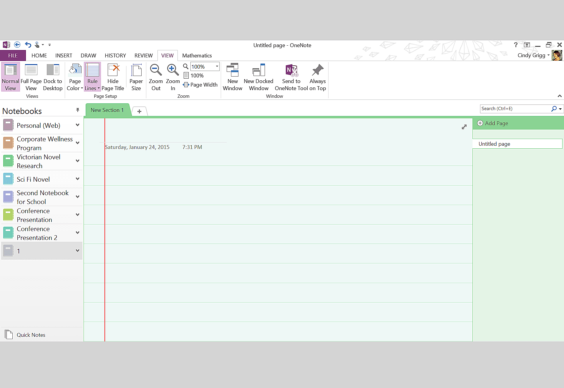 Green Notebook Page Preferences for Microsoft OneNote
