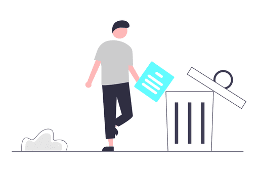 person throwing file in trash