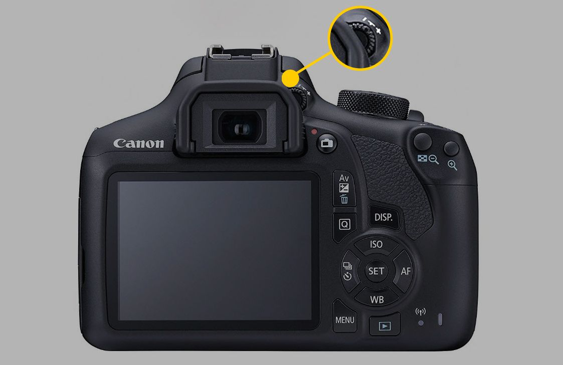 A Canon DSLR camera with the location of the diopter adjustment called out.