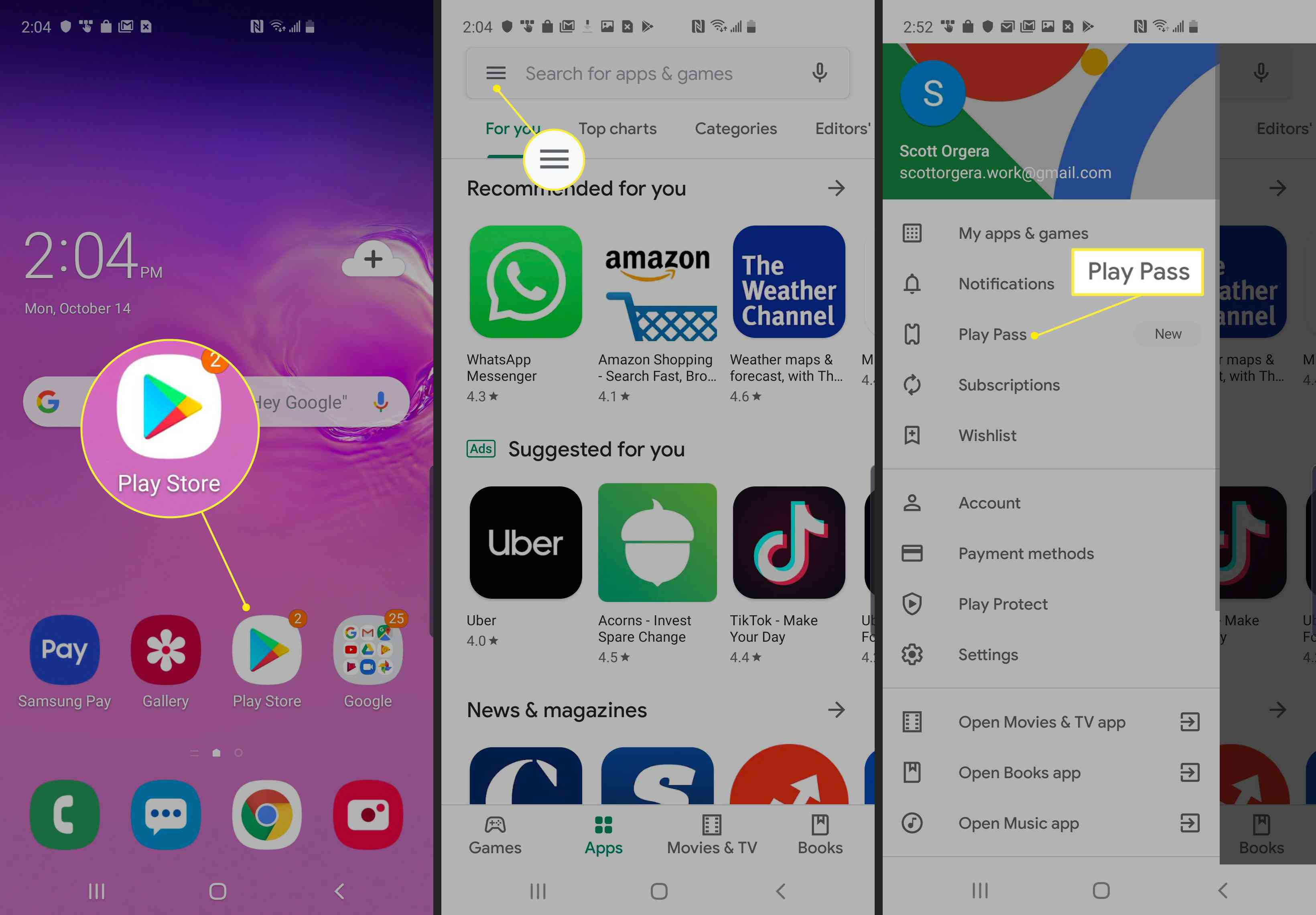 Path from Android home screen to Google Play Store menu on Android