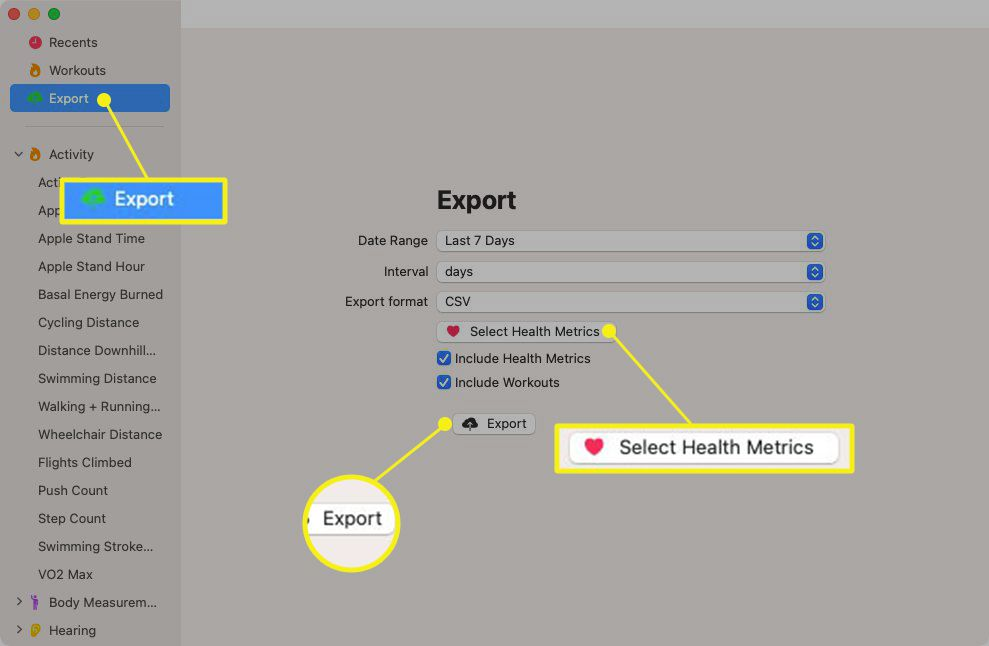 Health Auto Export application with Export and Select Health Metrics highlighted