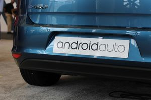Car bumper with an Android Auto placard