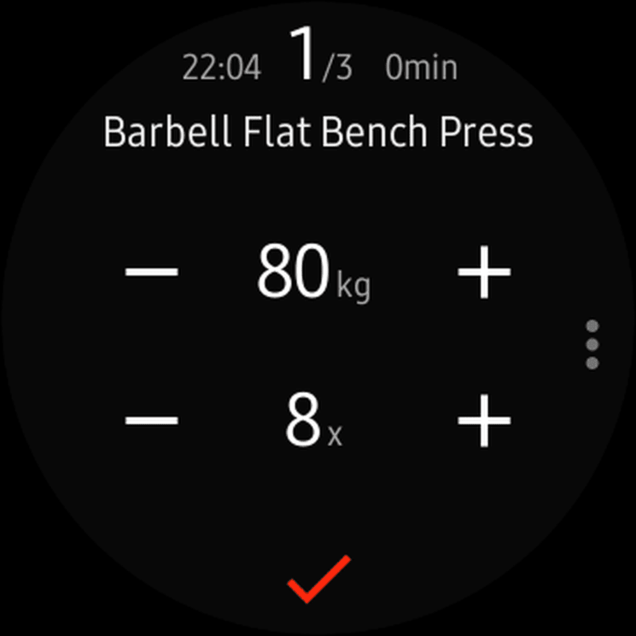 Screenshot of GymRun Workout Diary exercise logging screen.