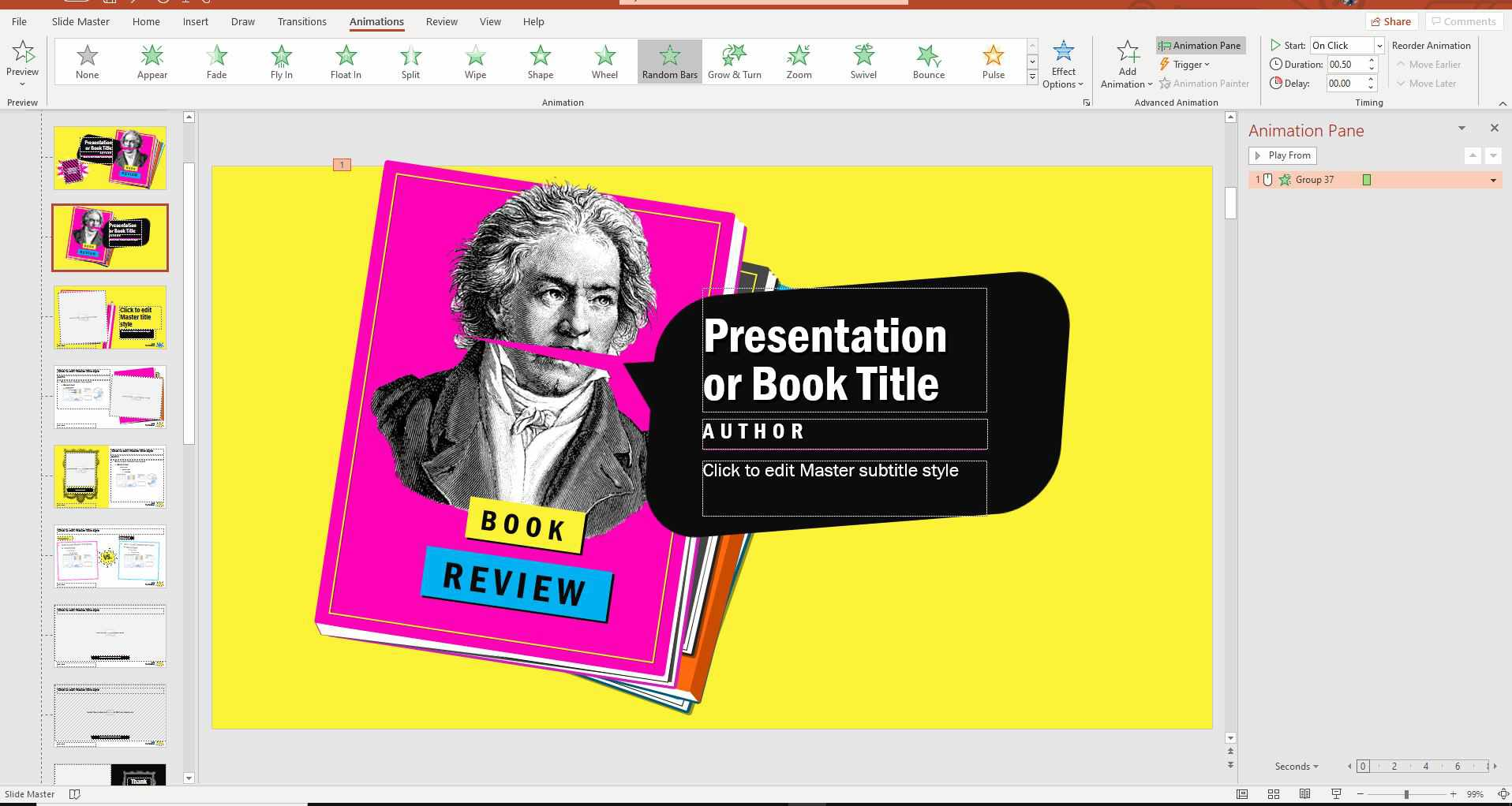 Animations tab in PowerPoint