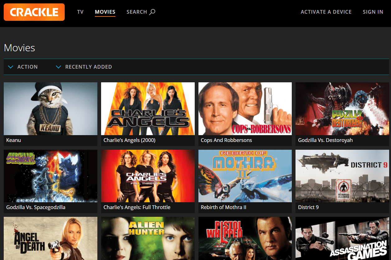 Free action movies on Crackle