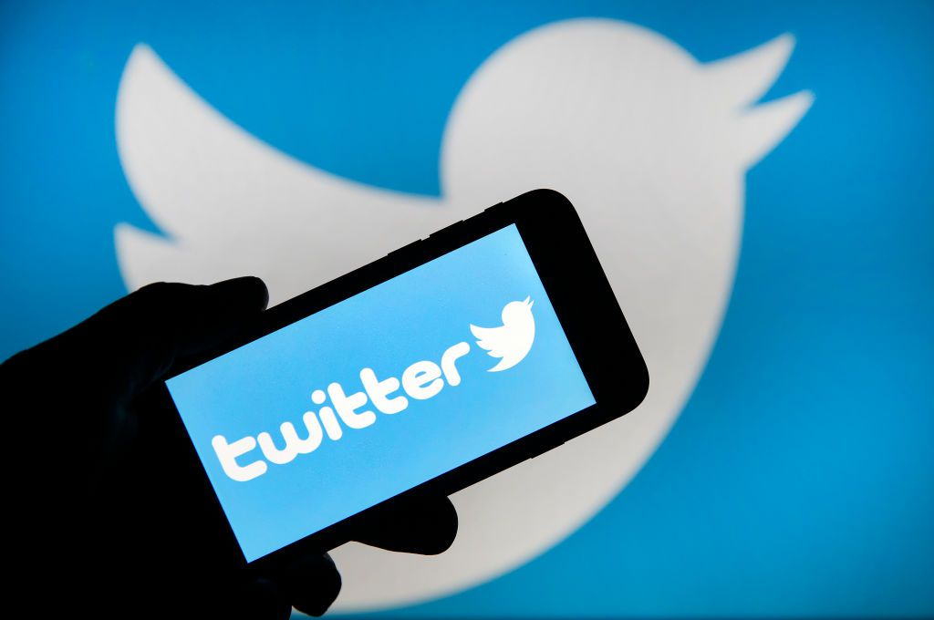 Twitter logo on phone