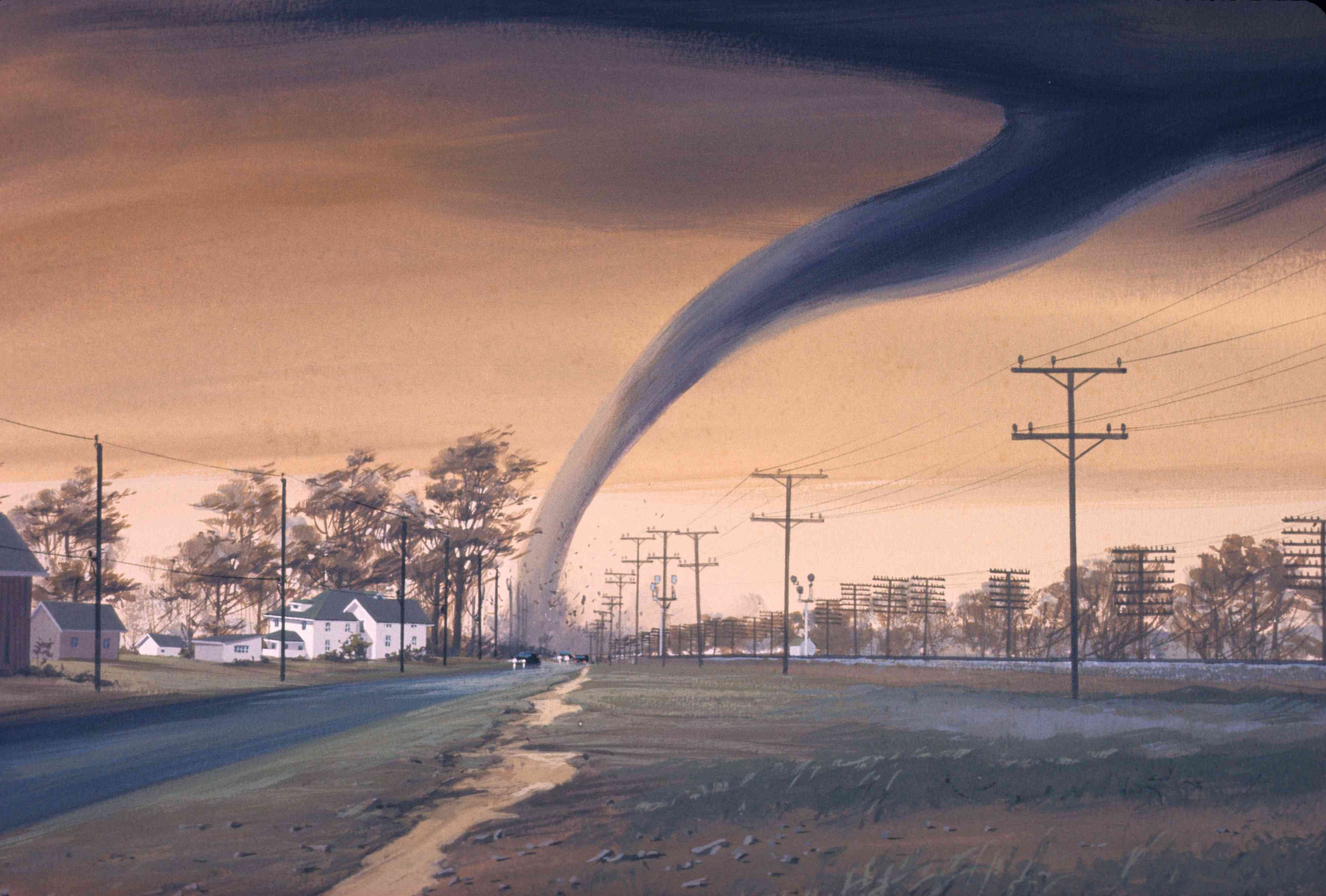 An artists rendition of a tornado destroying a structure in a small community by a railroad tracks.