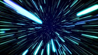 Hyperspace jump, conceptual illustration.