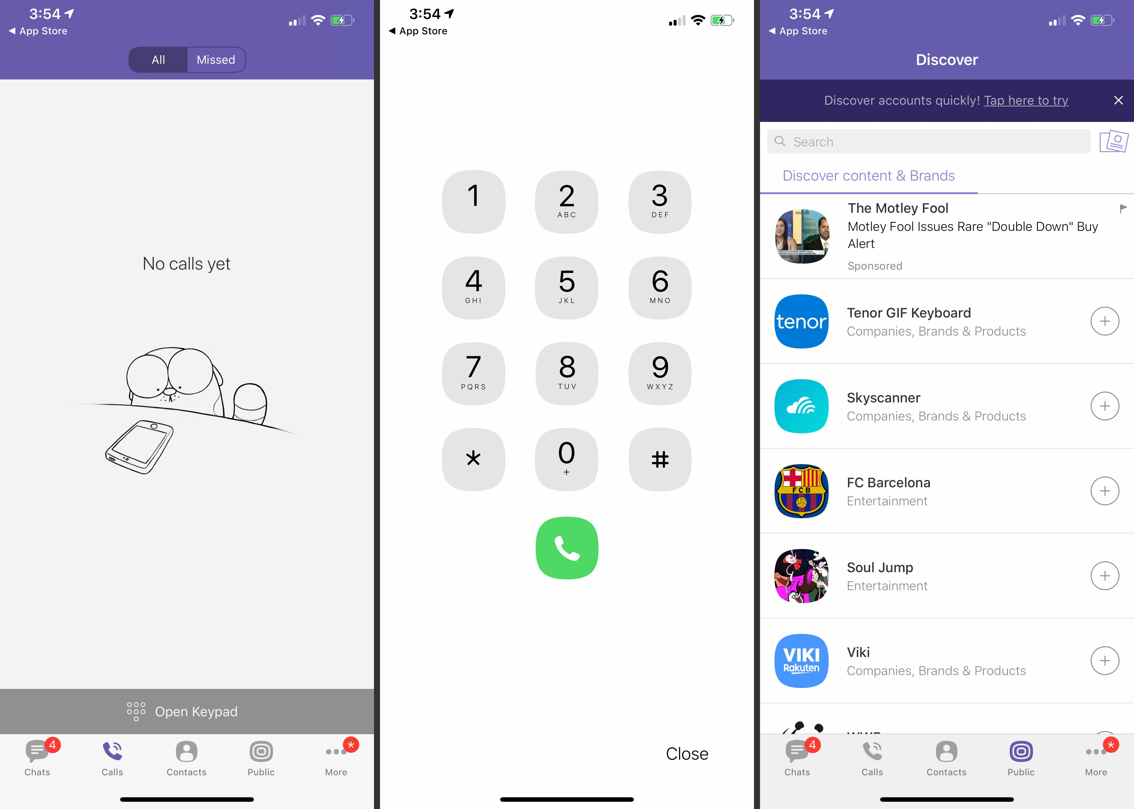 Call history, call keypad, and Discover tabs in Viber app for iOS