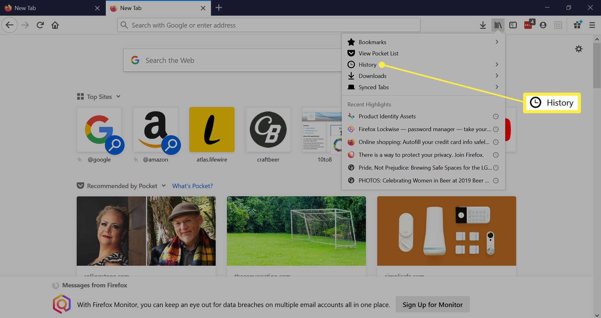 Firefox Library menu.