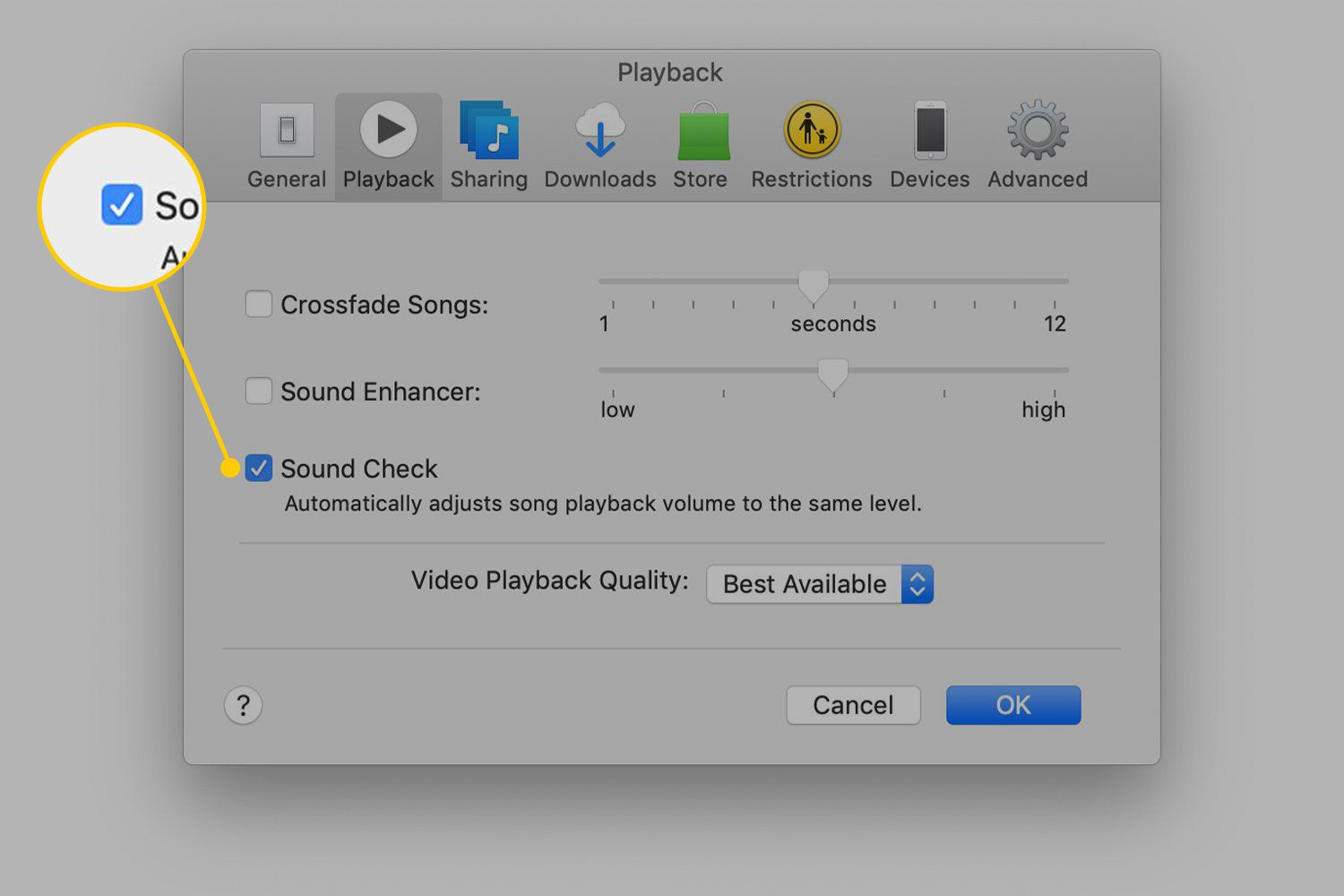 Sound Check option in iTunes preferences