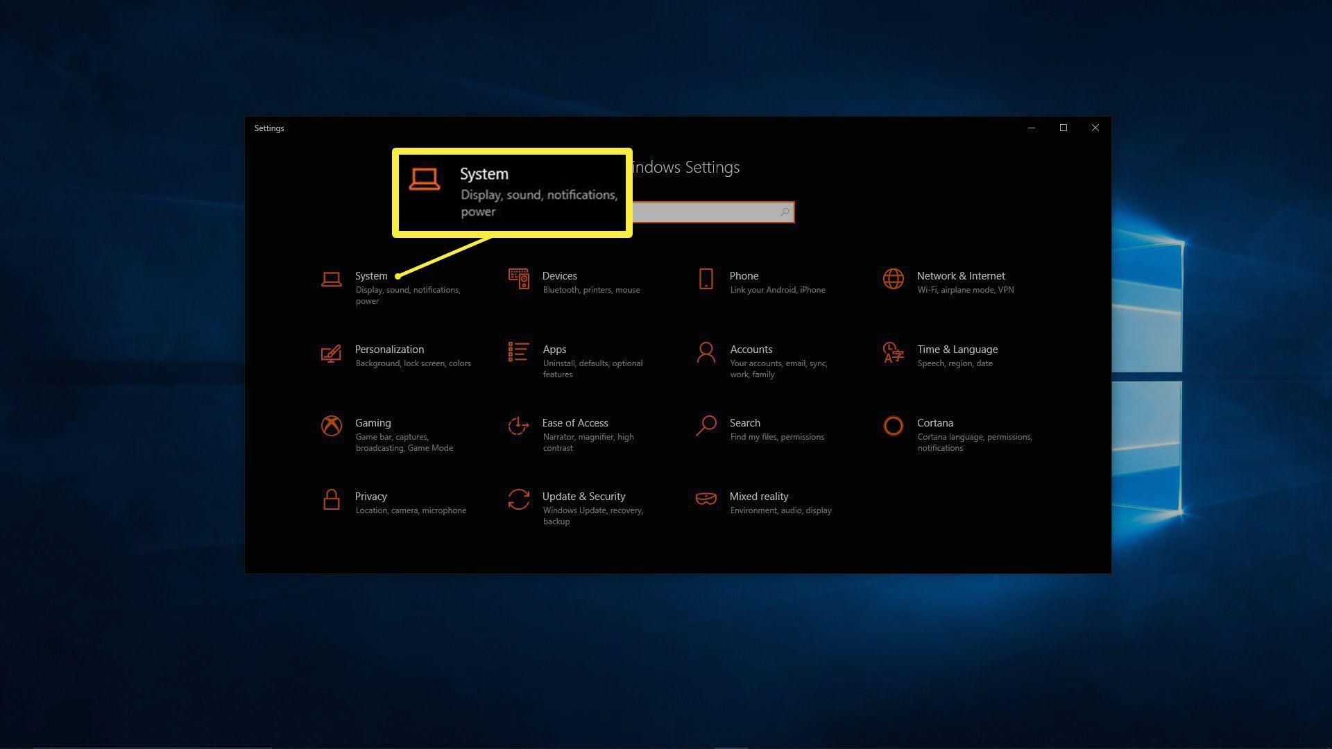 A screenshot of the Windows 10 Setting menu.