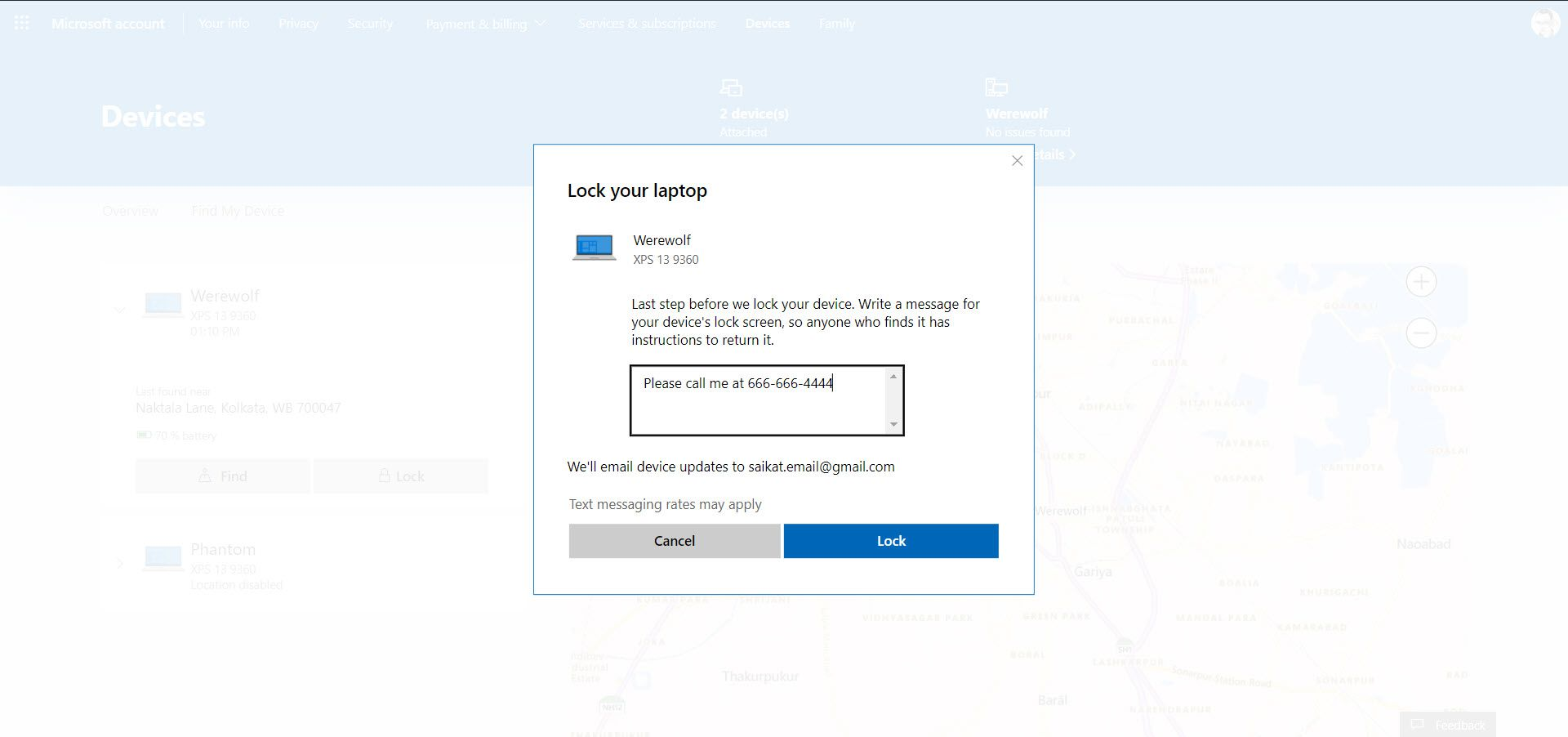 Dell laptop lock message on screen