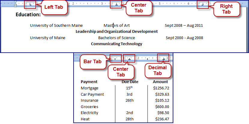 Microsoft Word Indents Tabs And Rulers