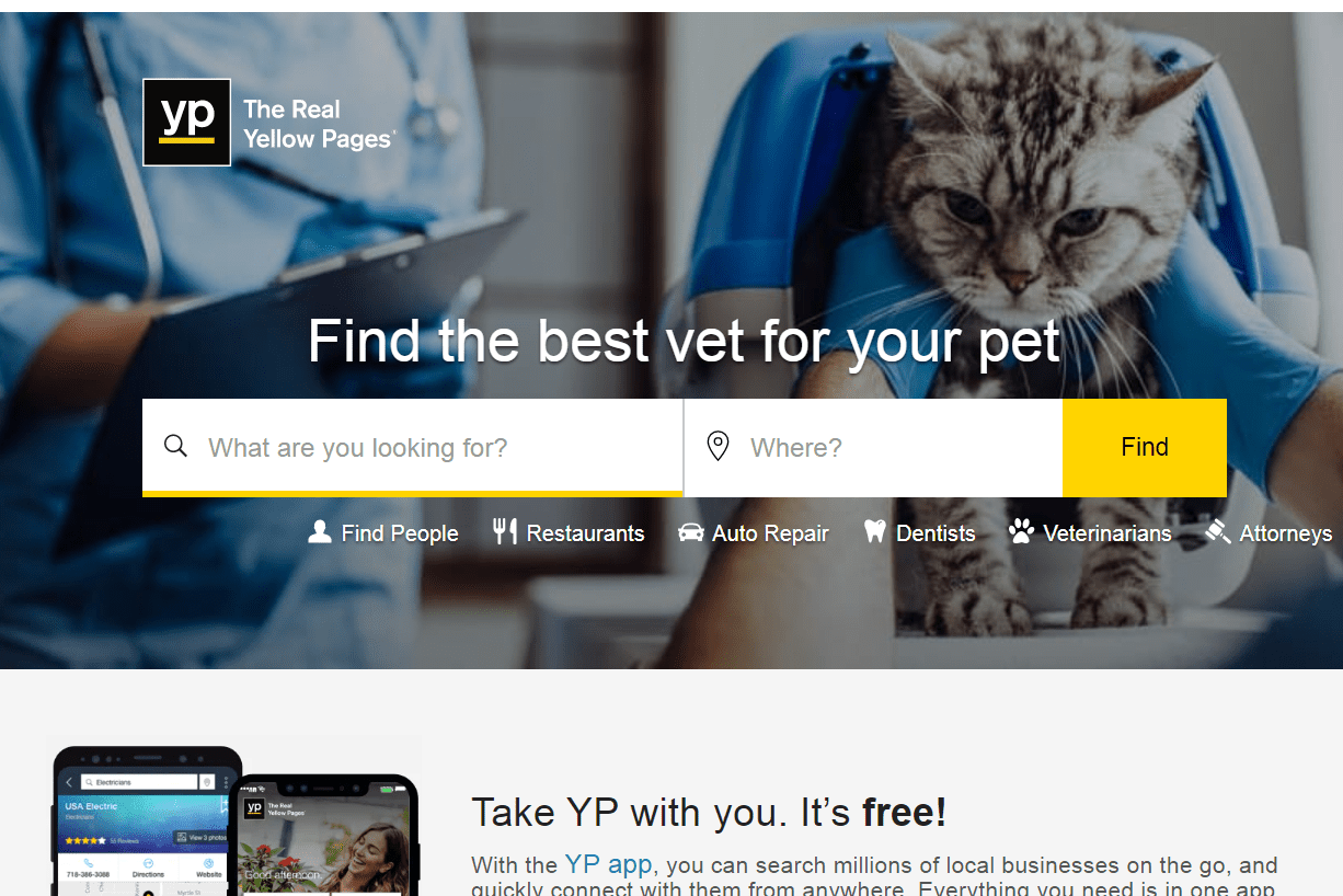 Yellow Pages website home page