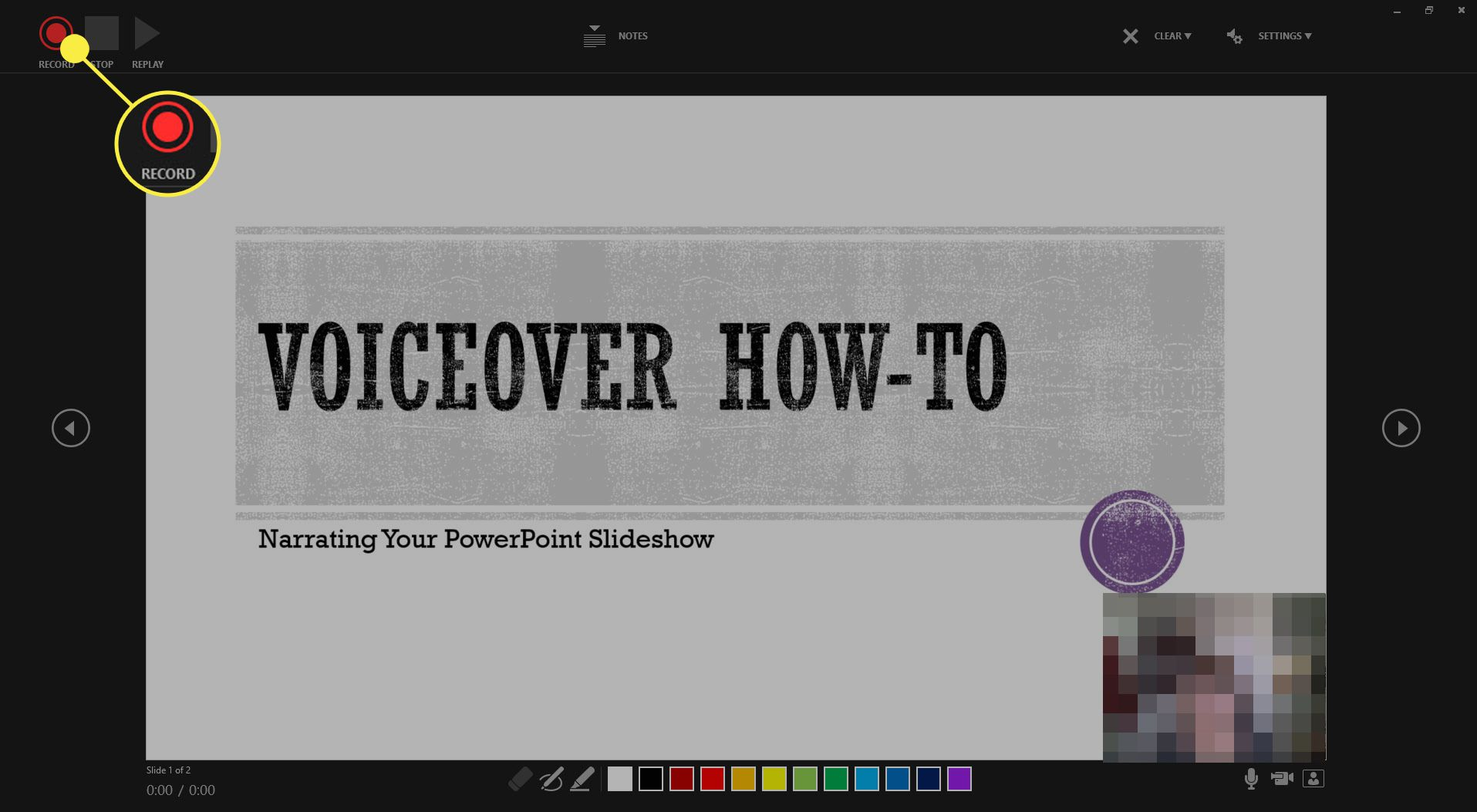 The Record option when recording PowerPoint Slideshow narration.