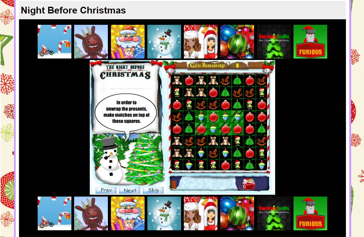 A screenshot of the game The Night Before Christmas