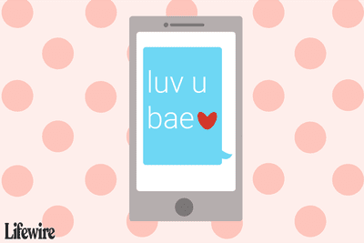 An illustration depicting a smartphone displaying a text message that uses the word 'bae'.