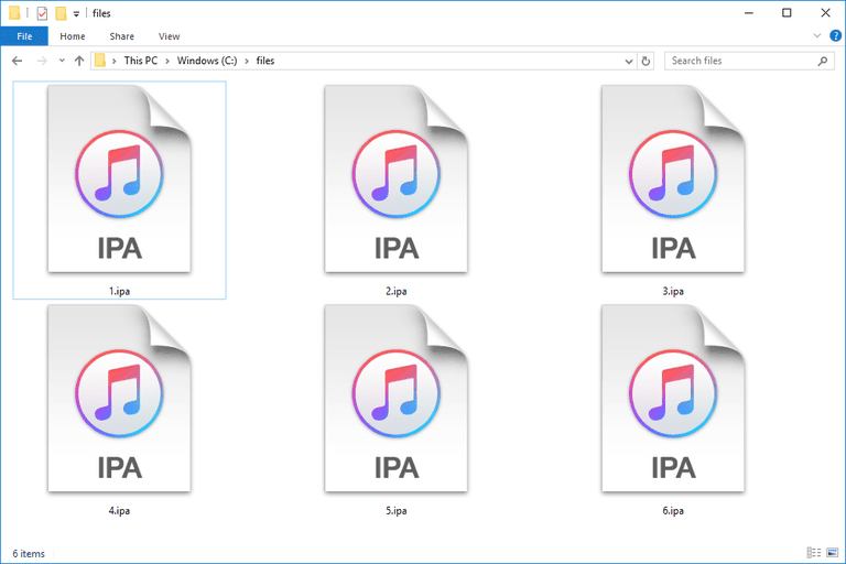 Screenshot of several IPA files used with iTunes in Windows 10