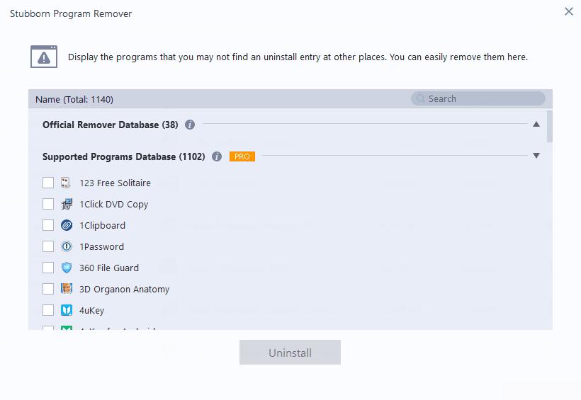 IObit Uninstaller Stubborn Program Remover options