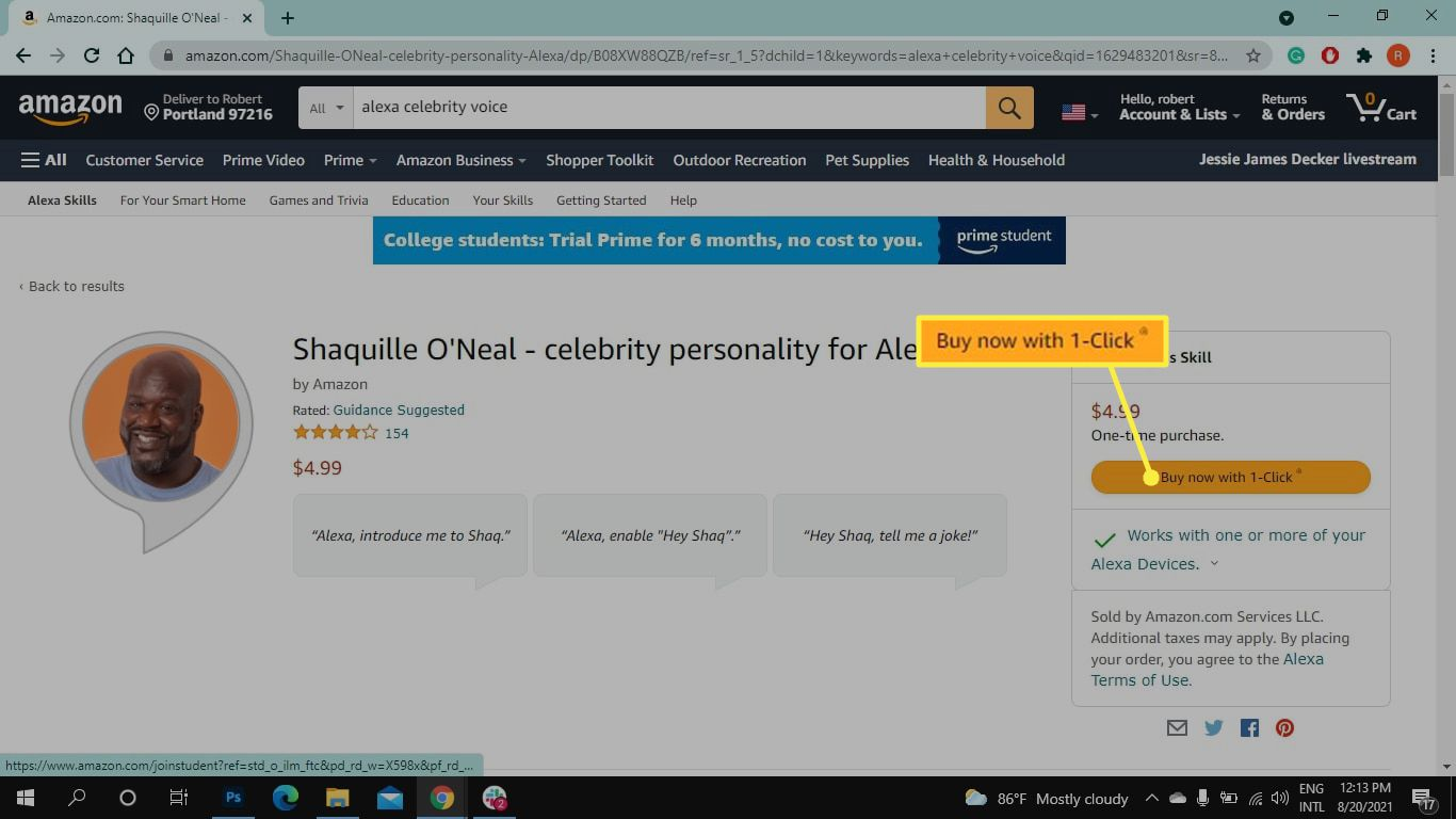 Buy now with 1-Click on Shaq Alexa celebrity voice skill page