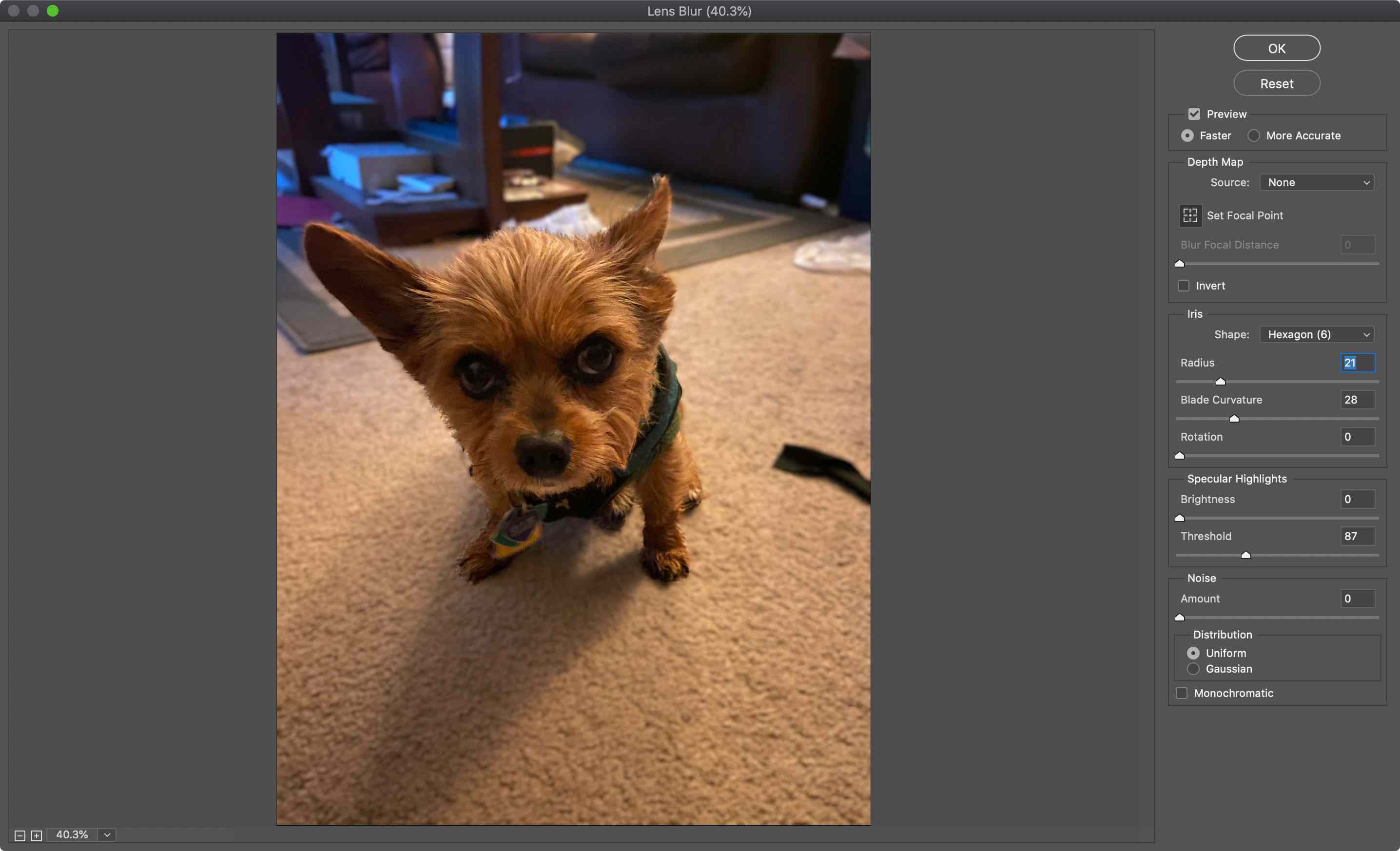 Lens Blur options in Photoshop