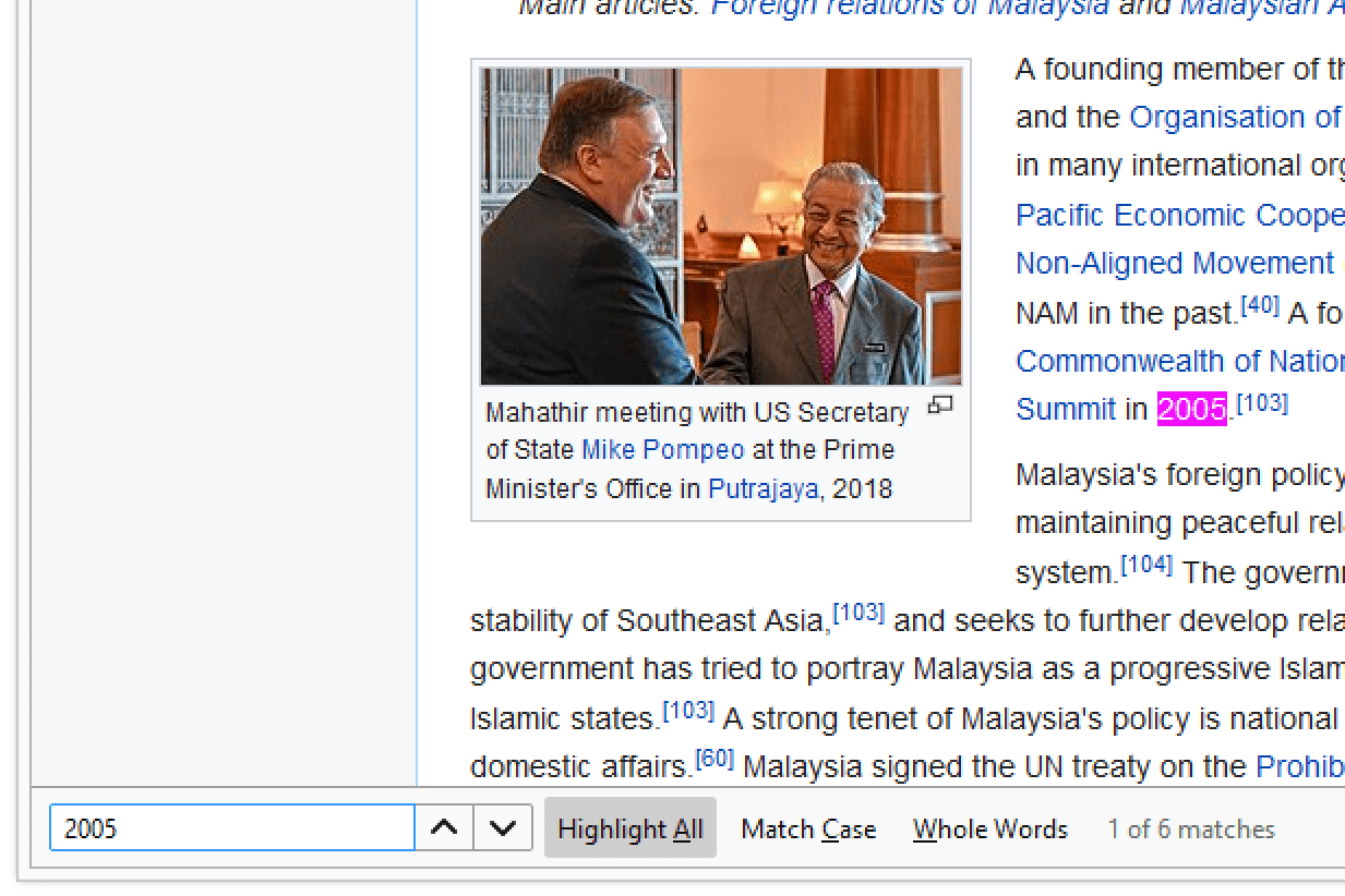 Firefox's find on page search box