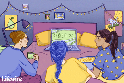 Group of teenagers watching FreeFlix on a laptop