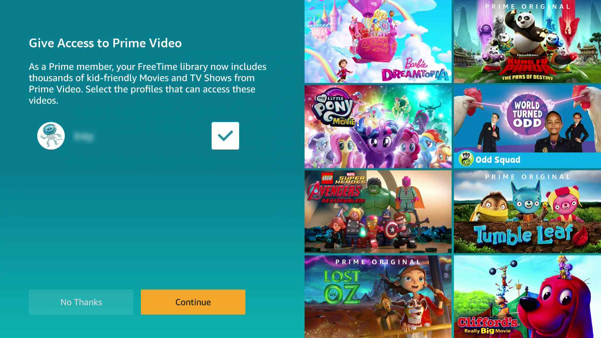 A screenshot of the Prime Video access screen for FreeTime.