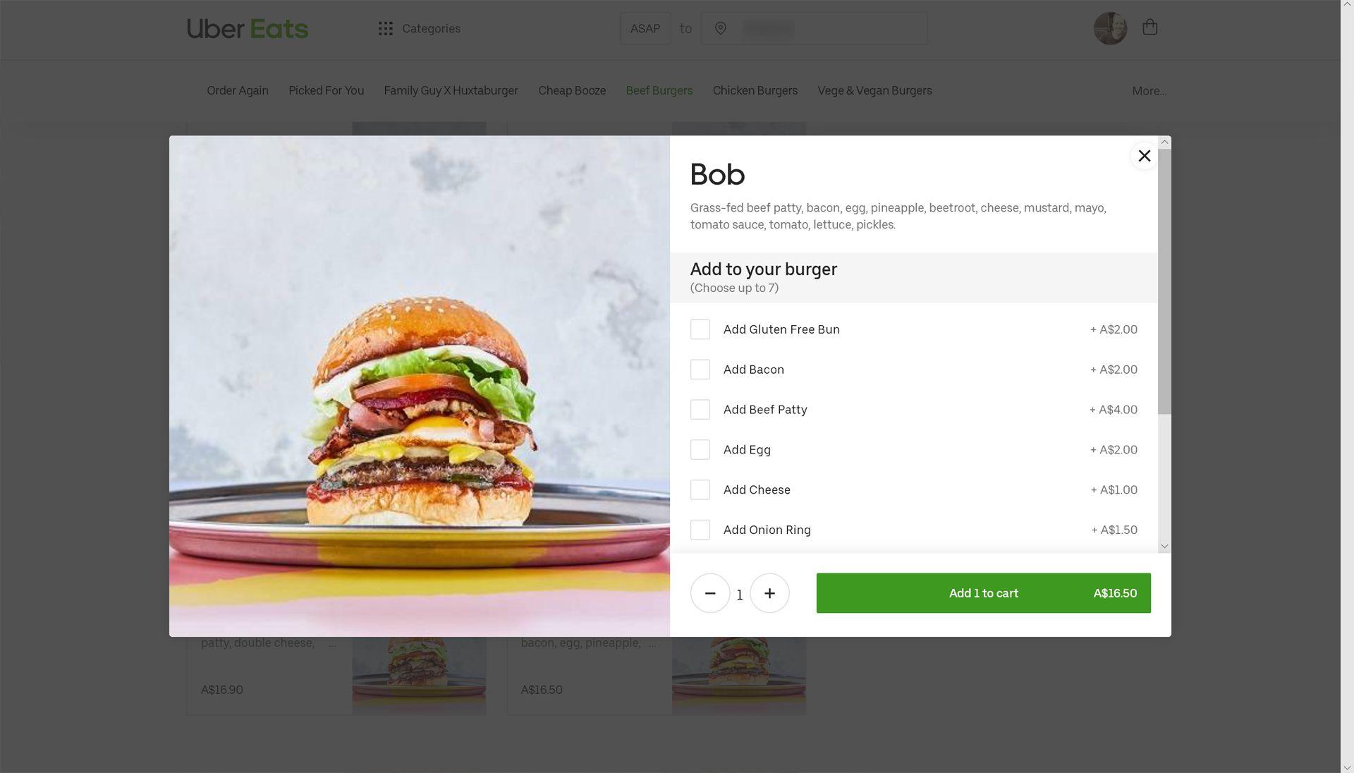 Ordering food on the Uber Eats website.