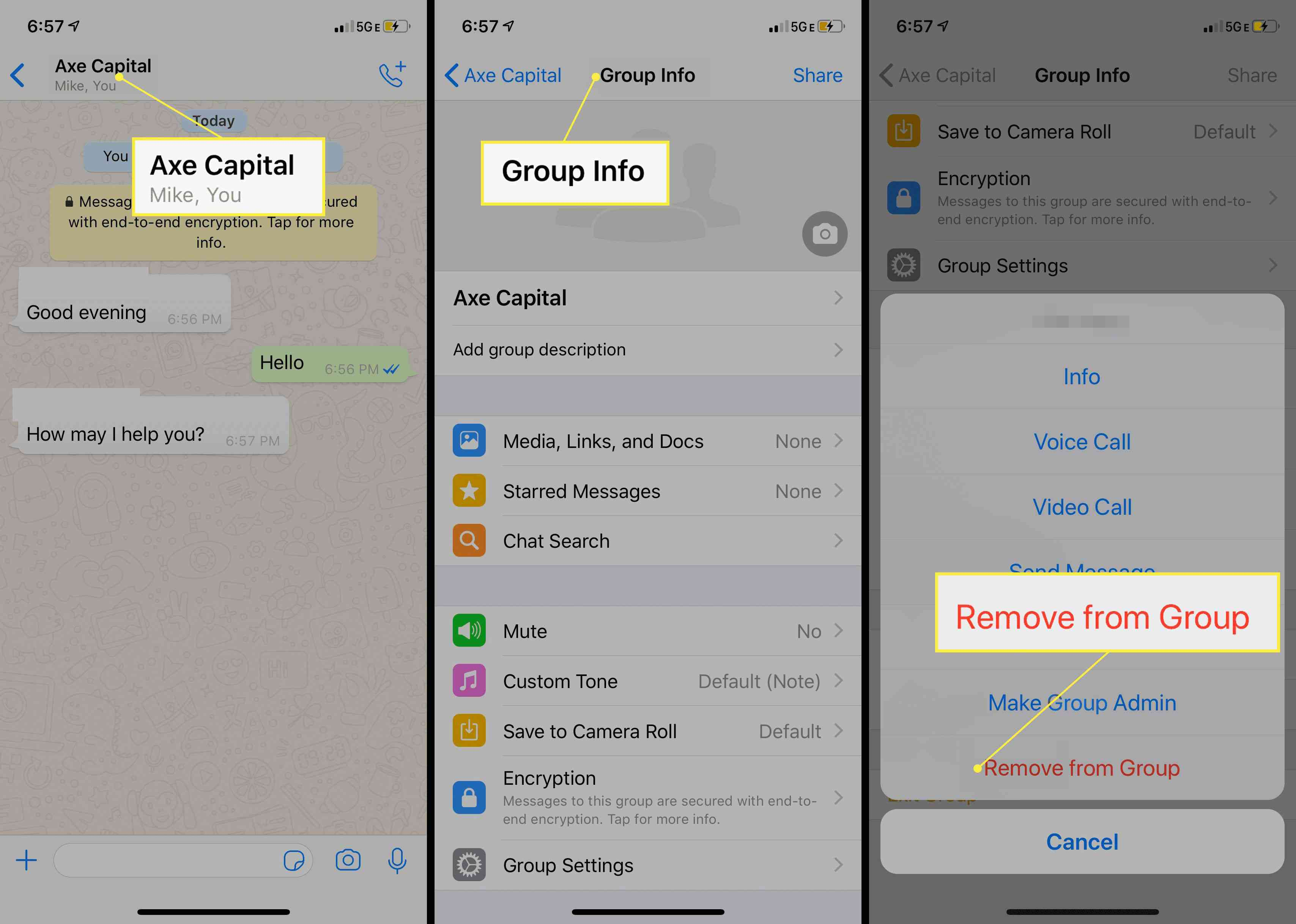 Removing a group on WhatsApp