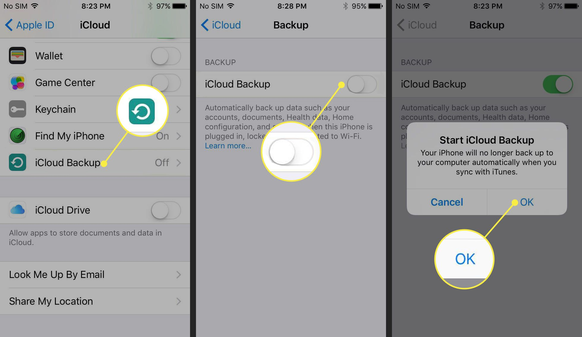 Turning on iCloud Backup on an iPhone