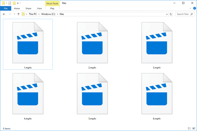 Screenshot of several MP4V files in Windows 10